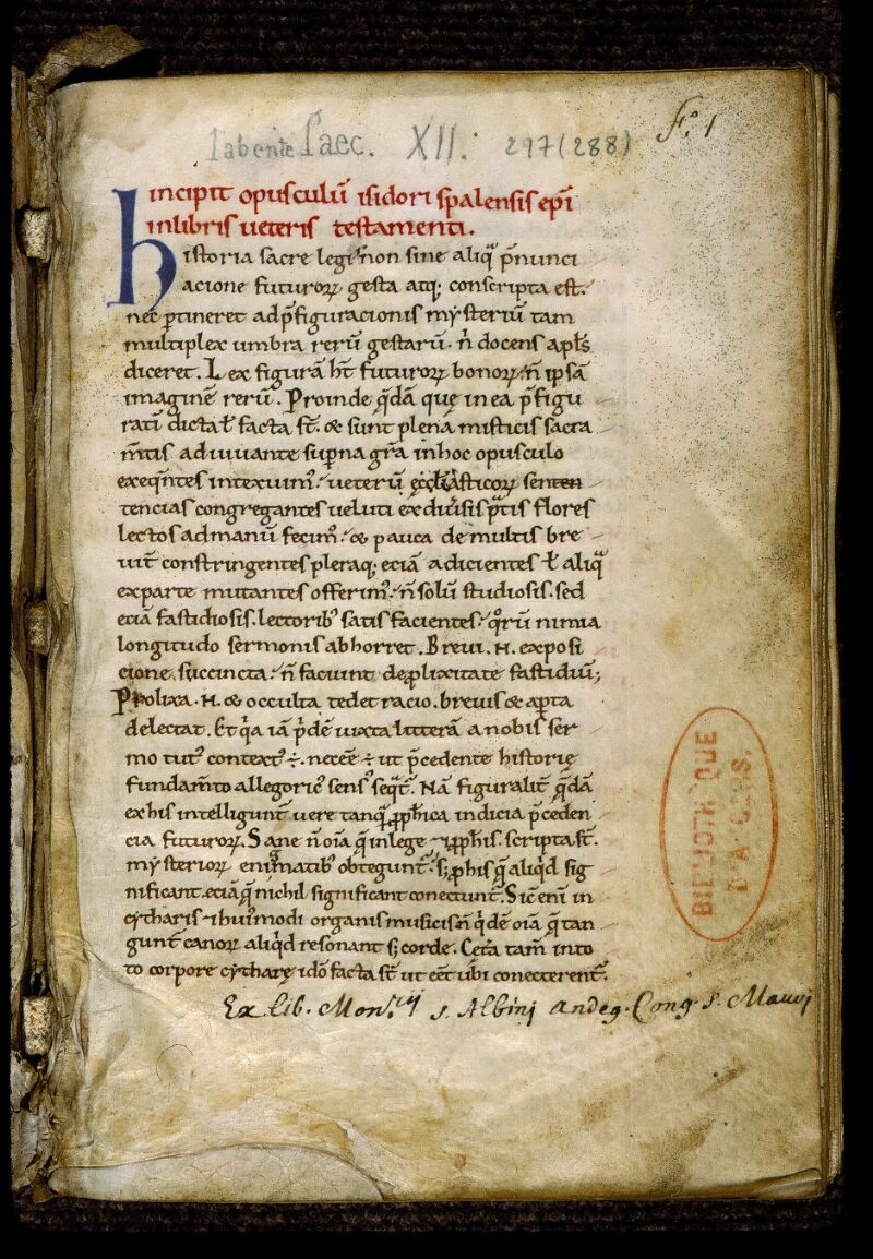 Angers, Bibl. mun., ms. 0297, f. 001 - vue 2