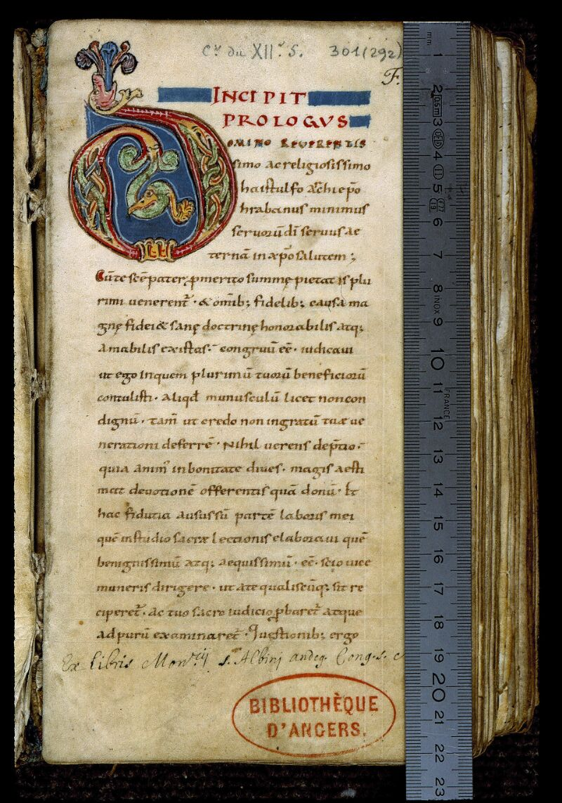 Angers, Bibl. mun., ms. 0301, f. 001 - vue 1