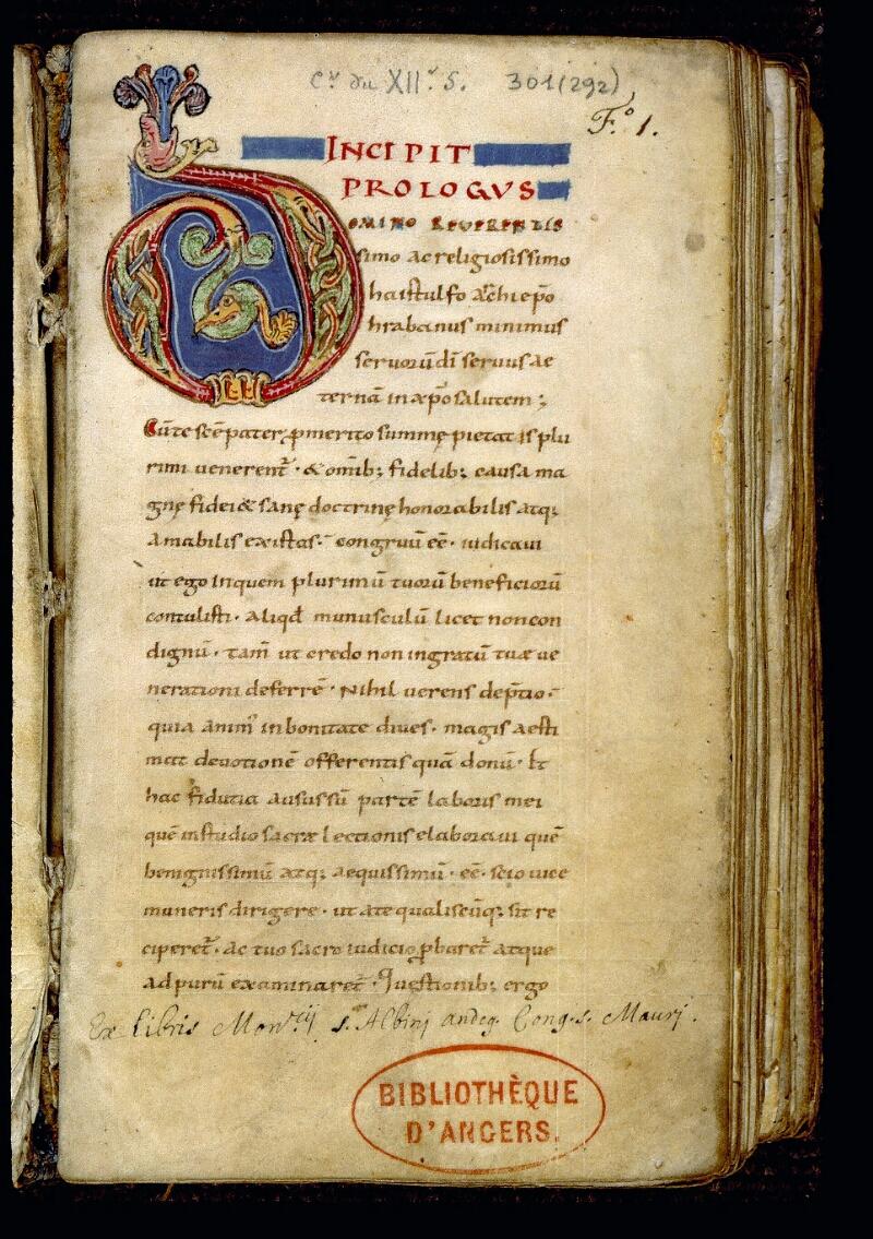 Angers, Bibl. mun., ms. 0301, f. 001 - vue 2