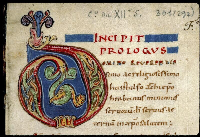 Angers, Bibl. mun., ms. 0301, f. 001 - vue 3