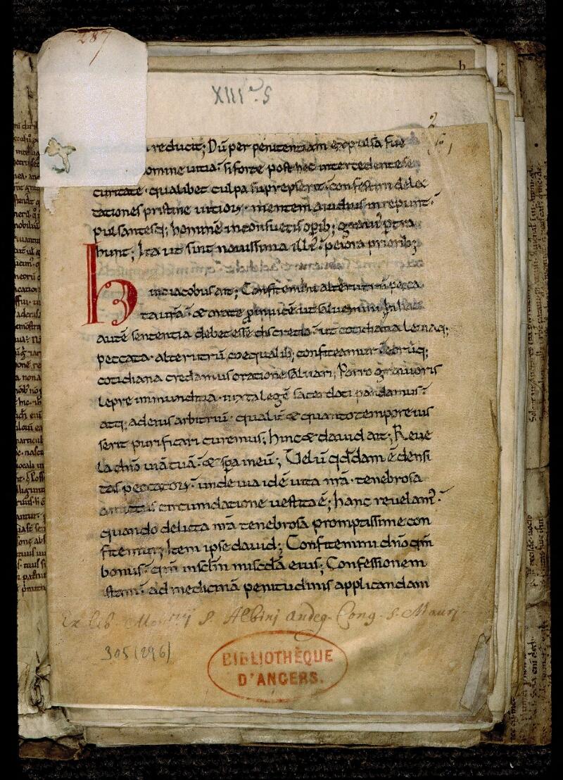 Angers, Bibl. mun., ms. 0305, f. 001 - vue 2