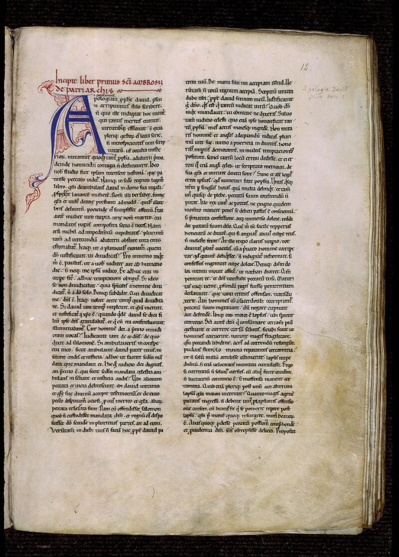Angers, Bibl. mun., ms. 0309, f. 012 - vue 2