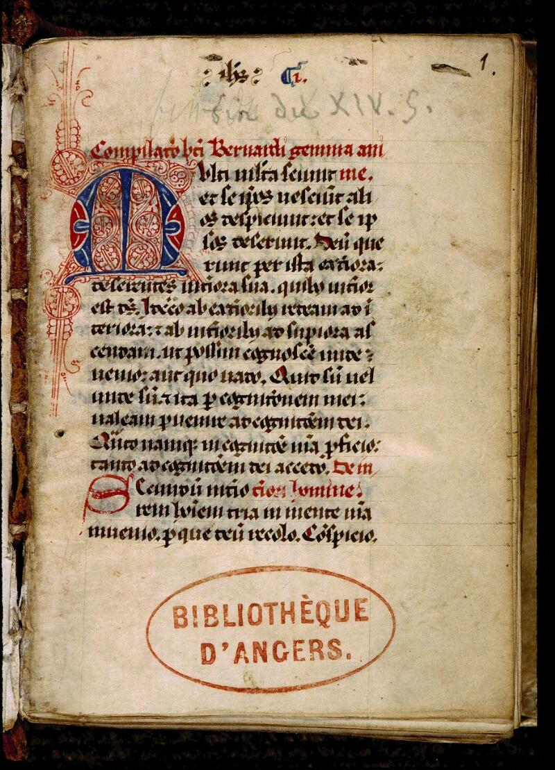 Angers, Bibl. mun., ms. 0317, f. 001 - vue 2