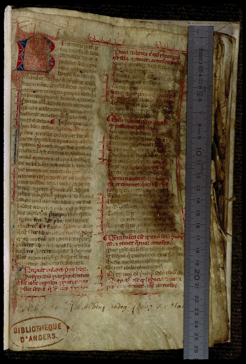 Angers, Bibl. mun., ms. 0318, f. 001 - vue 1