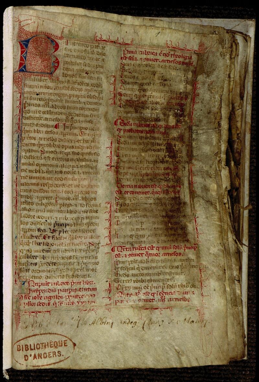 Angers, Bibl. mun., ms. 0318, f. 001 - vue 2