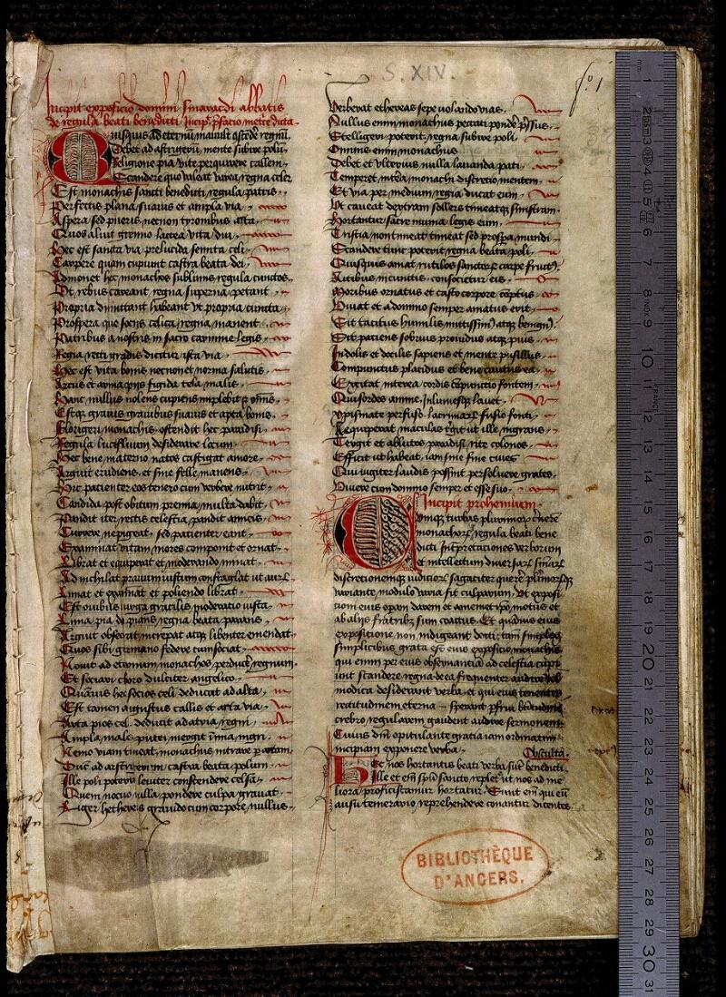 Angers, Bibl. mun., ms. 0321, f. 001 - vue 1