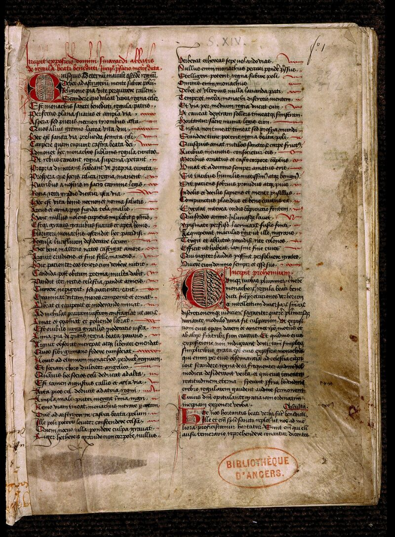 Angers, Bibl. mun., ms. 0321, f. 001 - vue 2