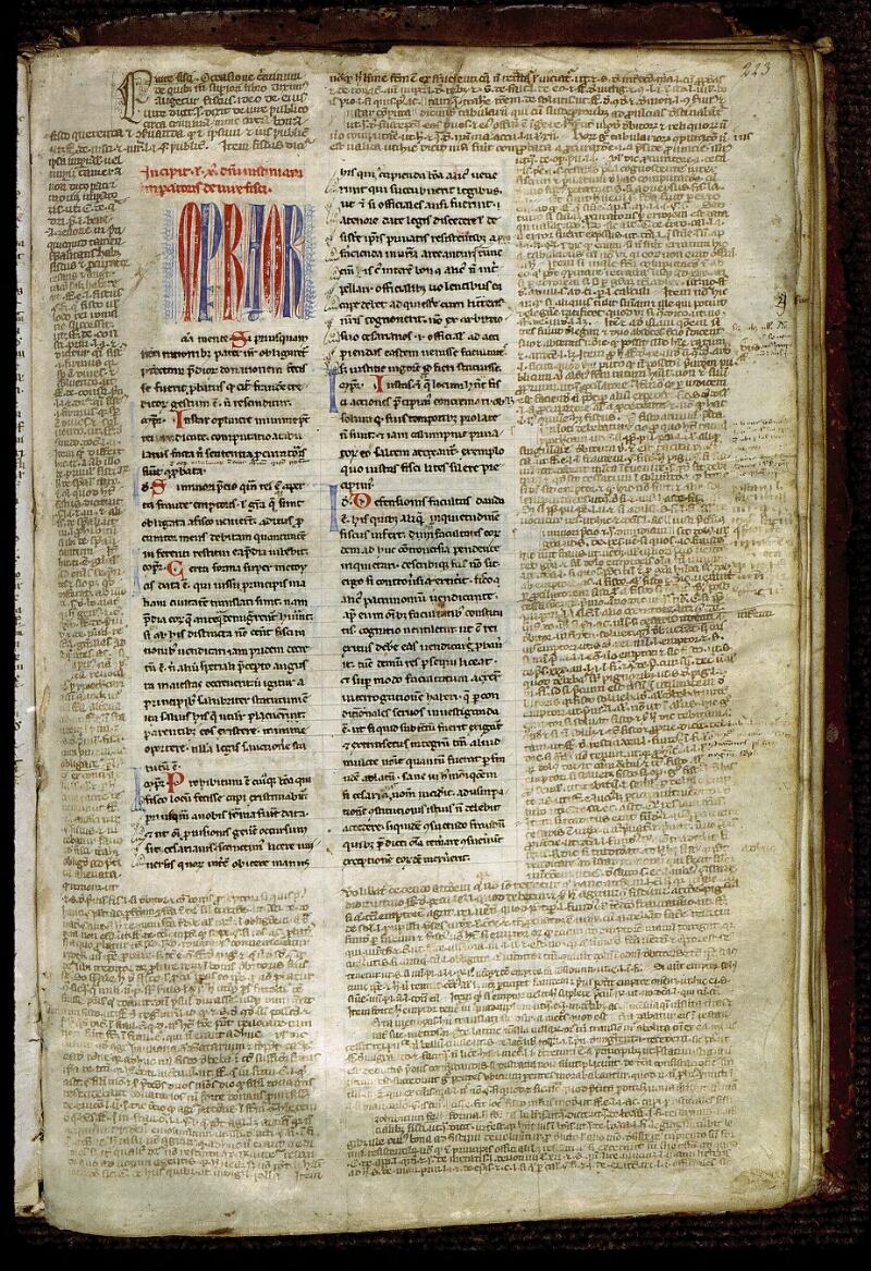 Angers, Bibl. mun., ms. 0333, f. 223 - vue 1