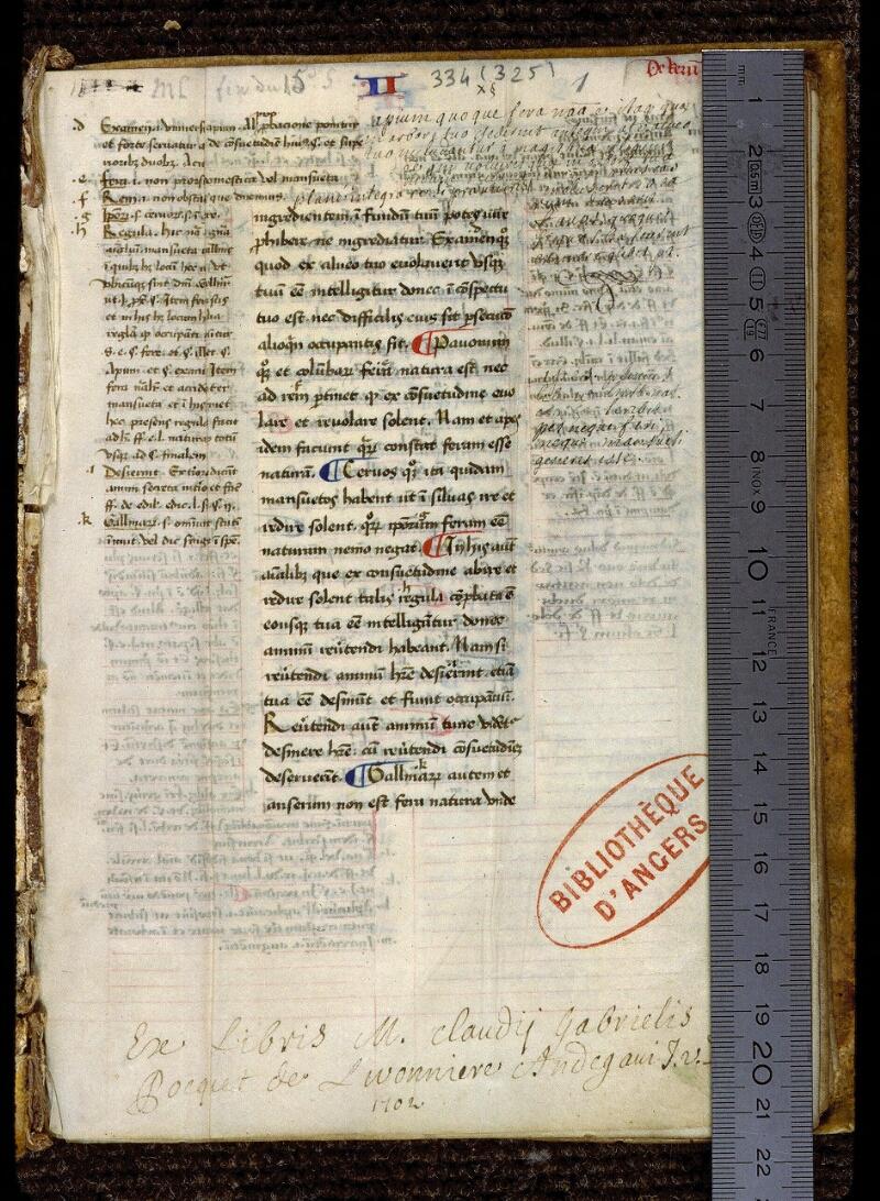 Angers, Bibl. mun., ms. 0334, f. 001 - vue 1