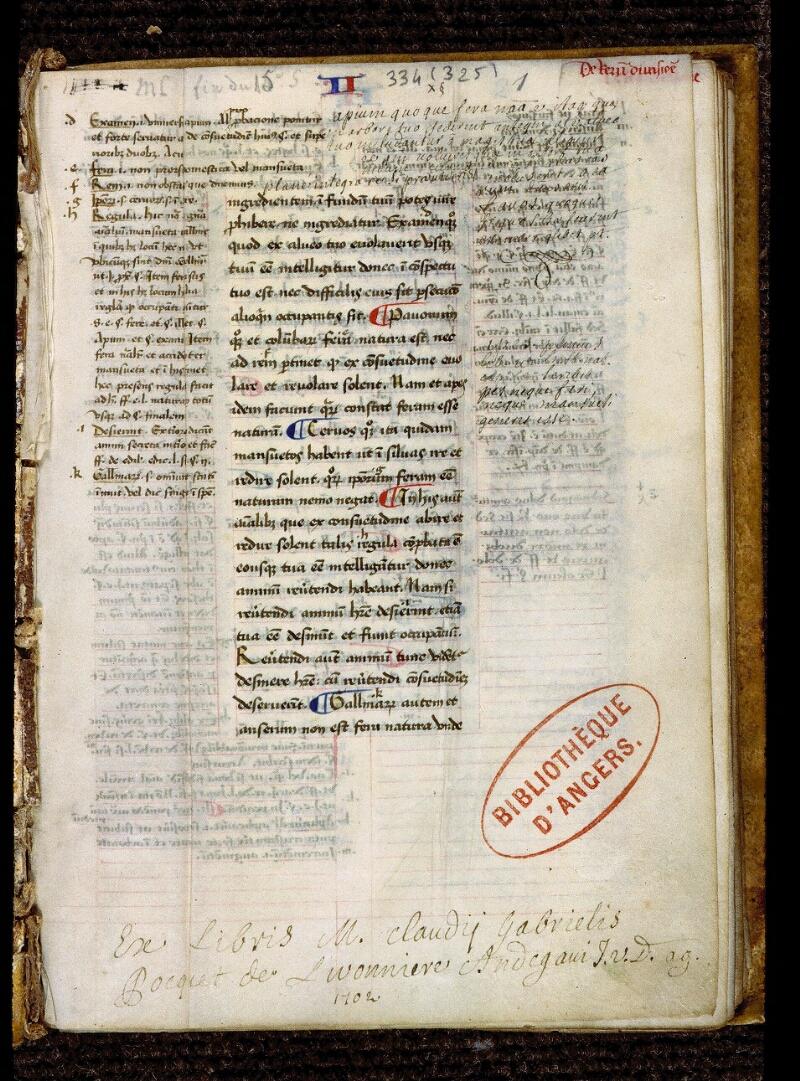 Angers, Bibl. mun., ms. 0334, f. 001 - vue 2