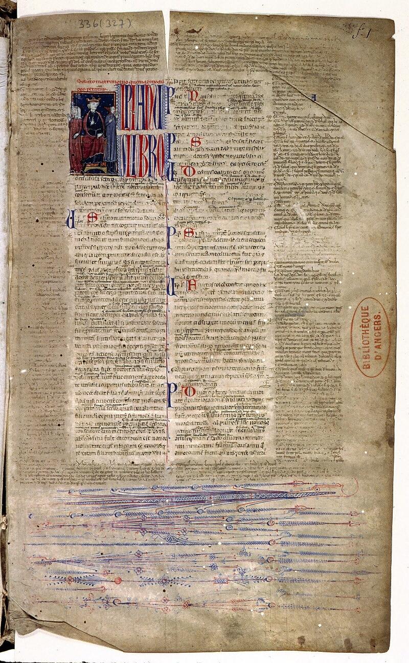 Angers, Bibl. mun., ms. 0336, f. 001 - vue 2
