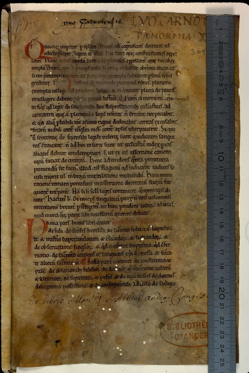 Angers, Bibl. mun., ms. 0369, f. 001 - vue 1