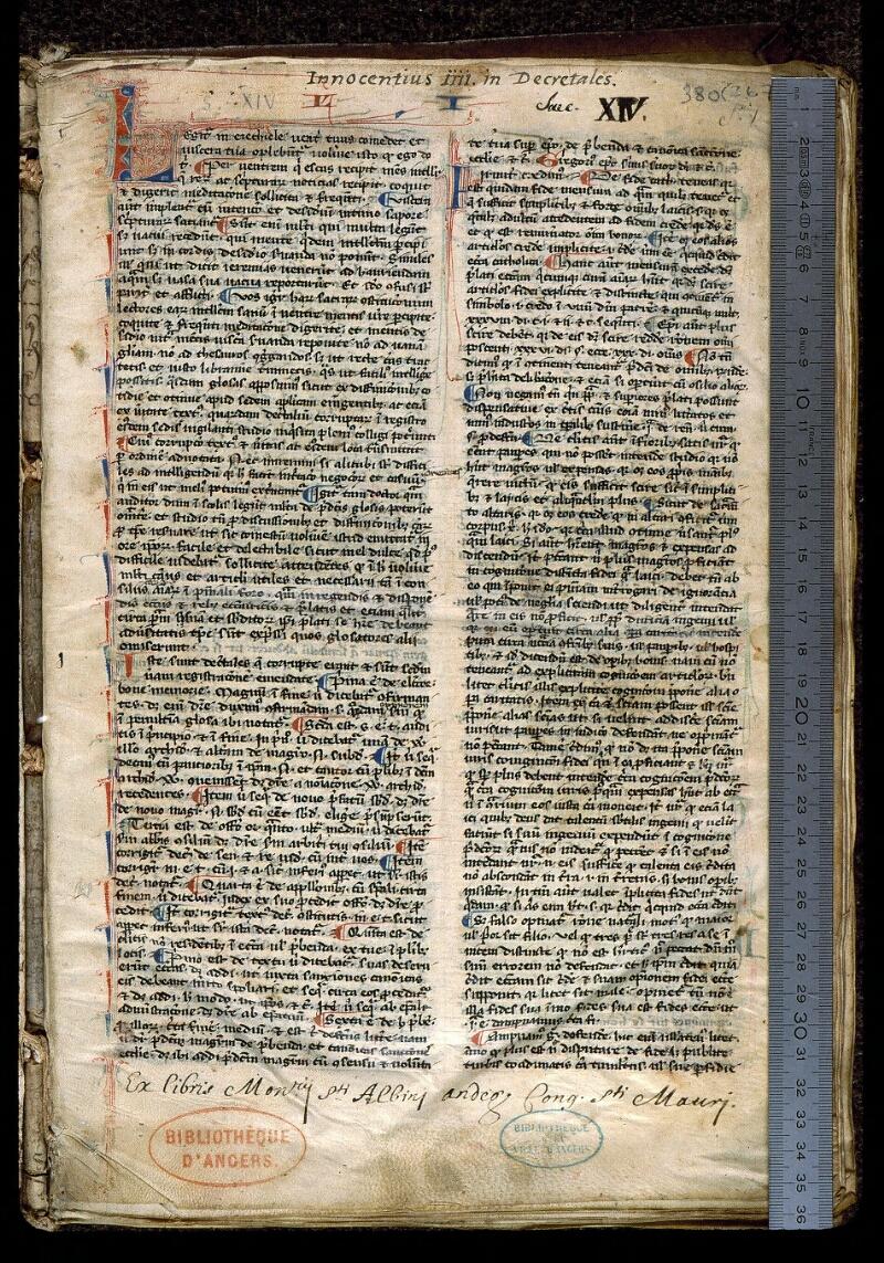 Angers, Bibl. mun., ms. 0380, f. 001 - vue 1