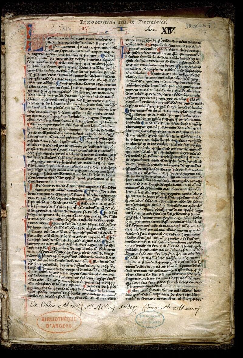 Angers, Bibl. mun., ms. 0380, f. 001 - vue 2