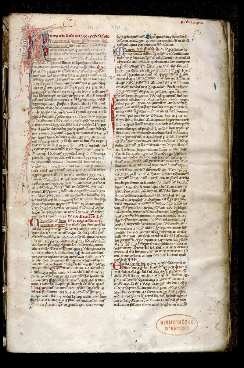 Angers, Bibl. mun., ms. 0381, f. 001 - vue 2