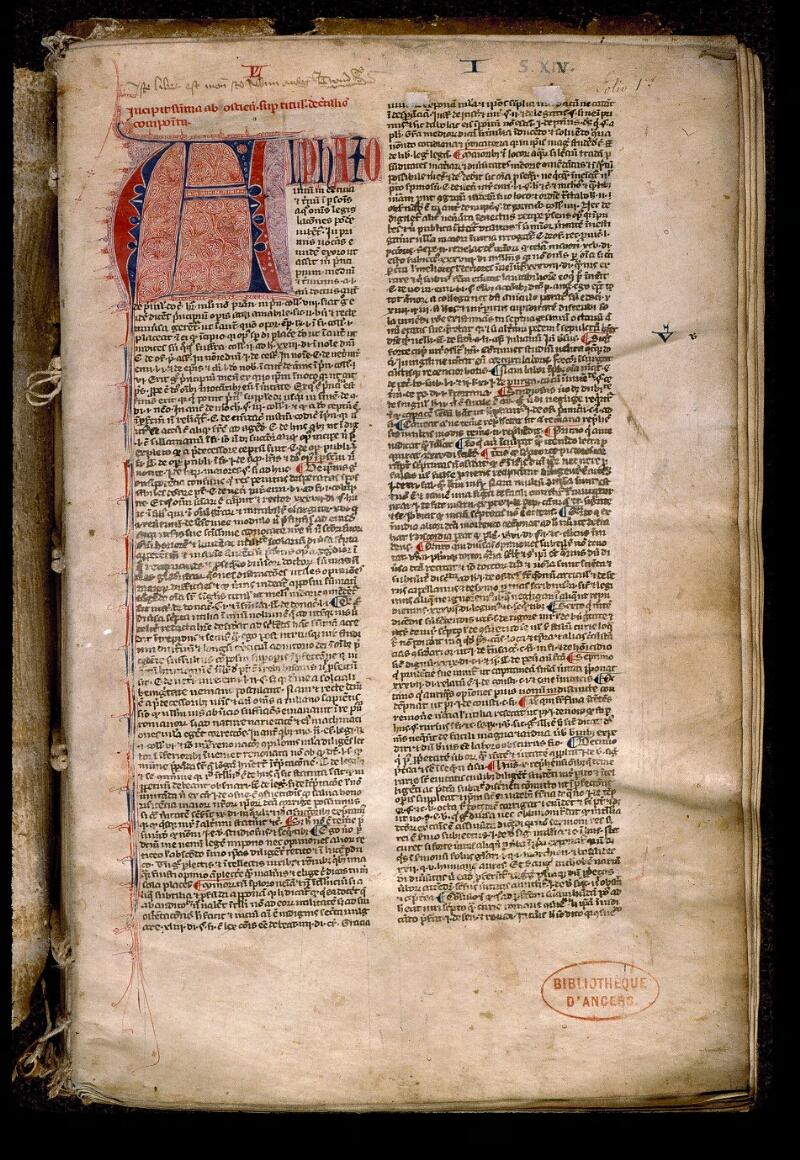 Angers, Bibl. mun., ms. 0382, f. 001 - vue 2