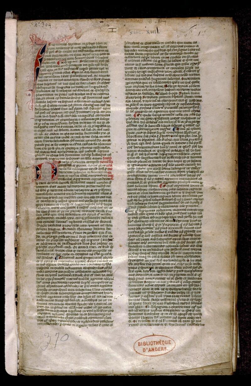 Angers, Bibl. mun., ms. 0383, f. 001 - vue 2