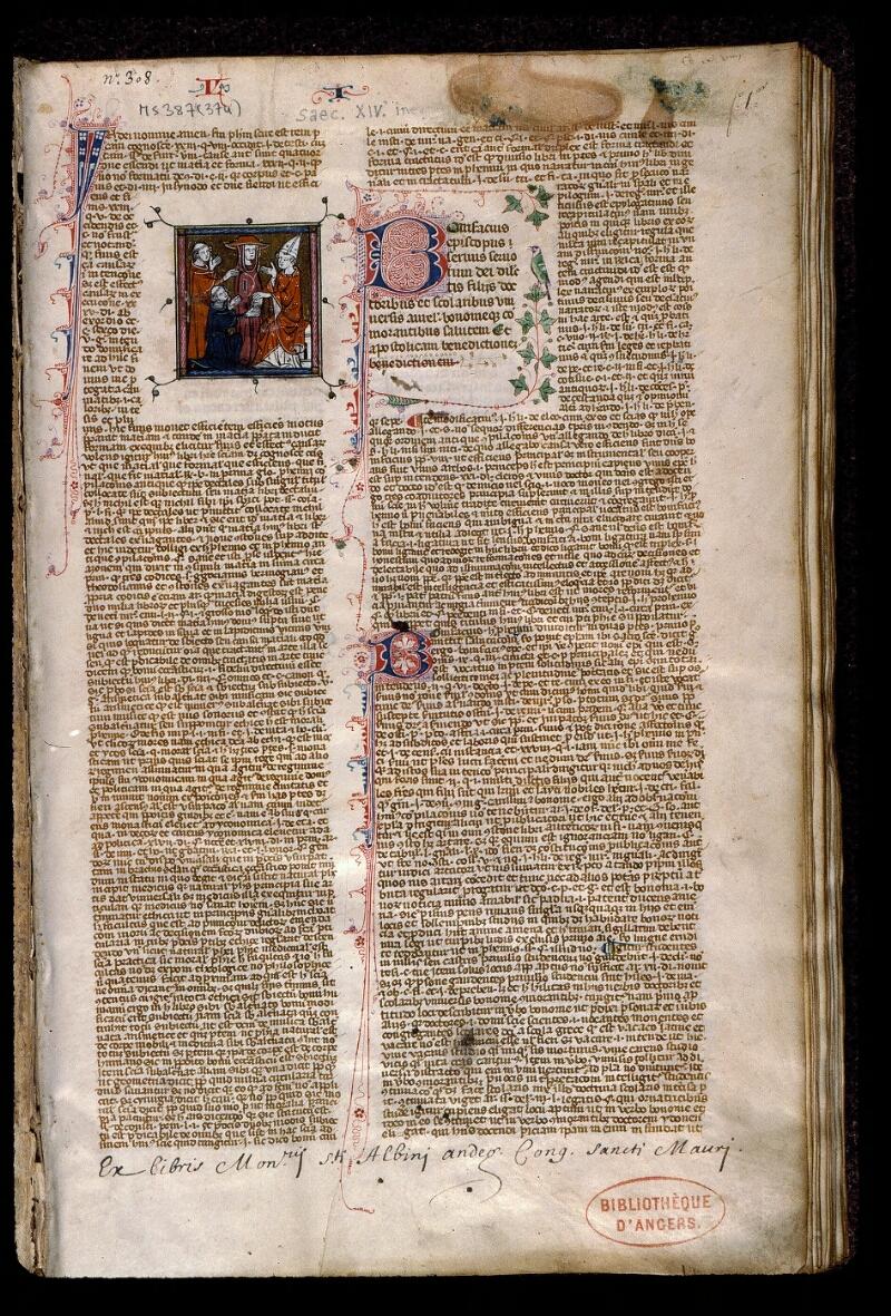 Angers, Bibl. mun., ms. 0387, f. 001 - vue 2