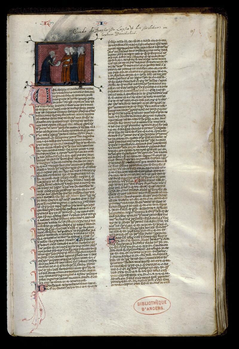 Angers, Bibl. mun., ms. 0387, f. 107 - vue 1