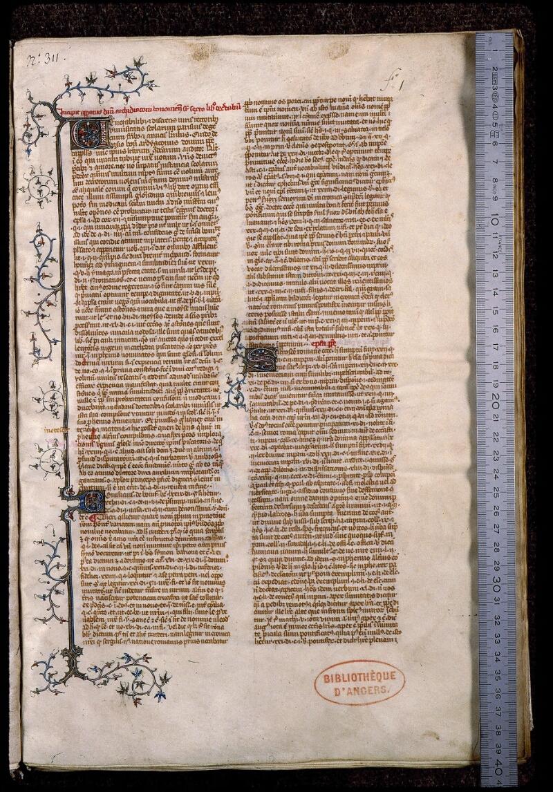Angers, Bibl. mun., ms. 0390, f. 001 - vue 1
