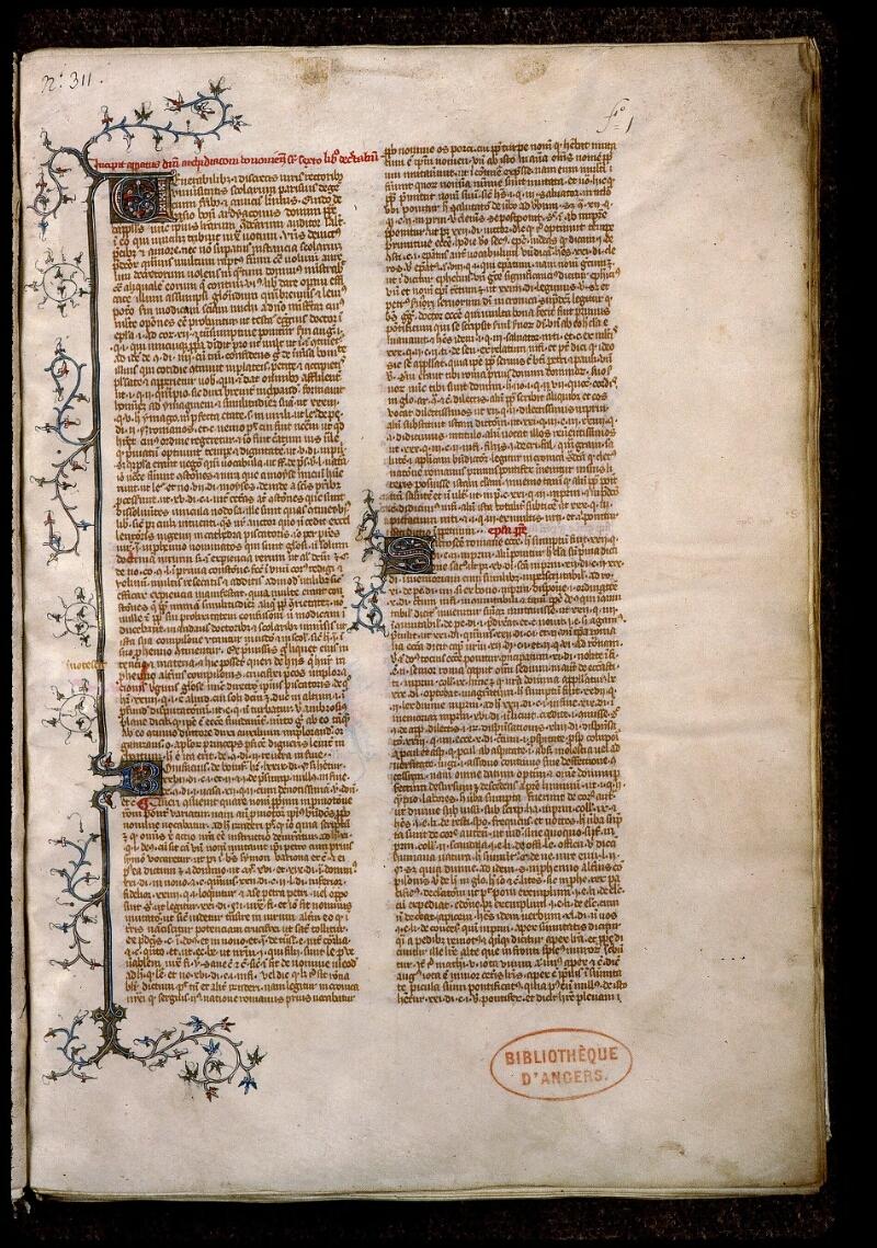 Angers, Bibl. mun., ms. 0390, f. 001 - vue 2
