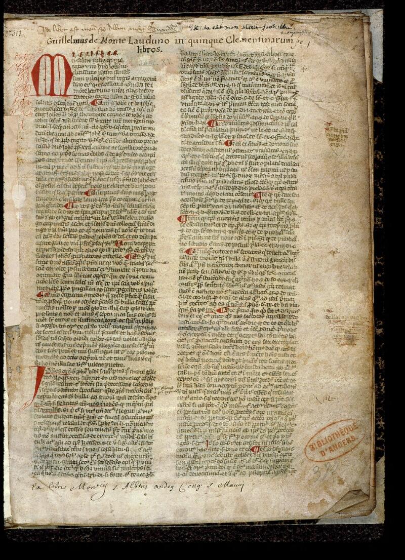 Angers, Bibl. mun., ms. 0393, f. 001 - vue 2