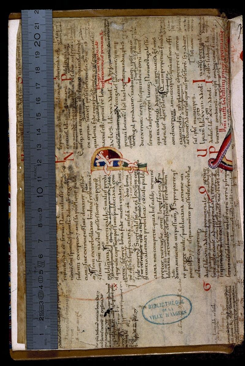 Angers, Bibl. mun., ms. 0395, f. Bv - vue 1