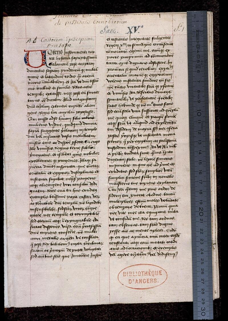 Angers, Bibl. mun., ms. 0399, f. 001 - vue 1