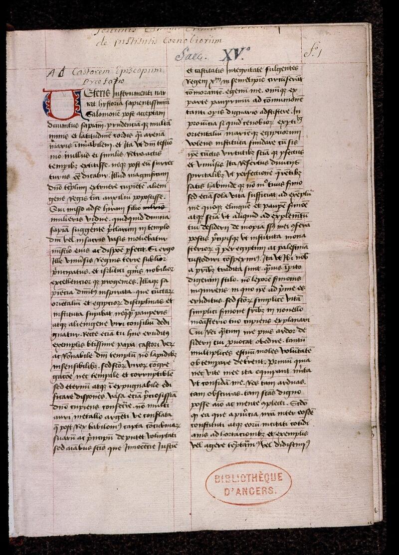 Angers, Bibl. mun., ms. 0399, f. 001 - vue 2