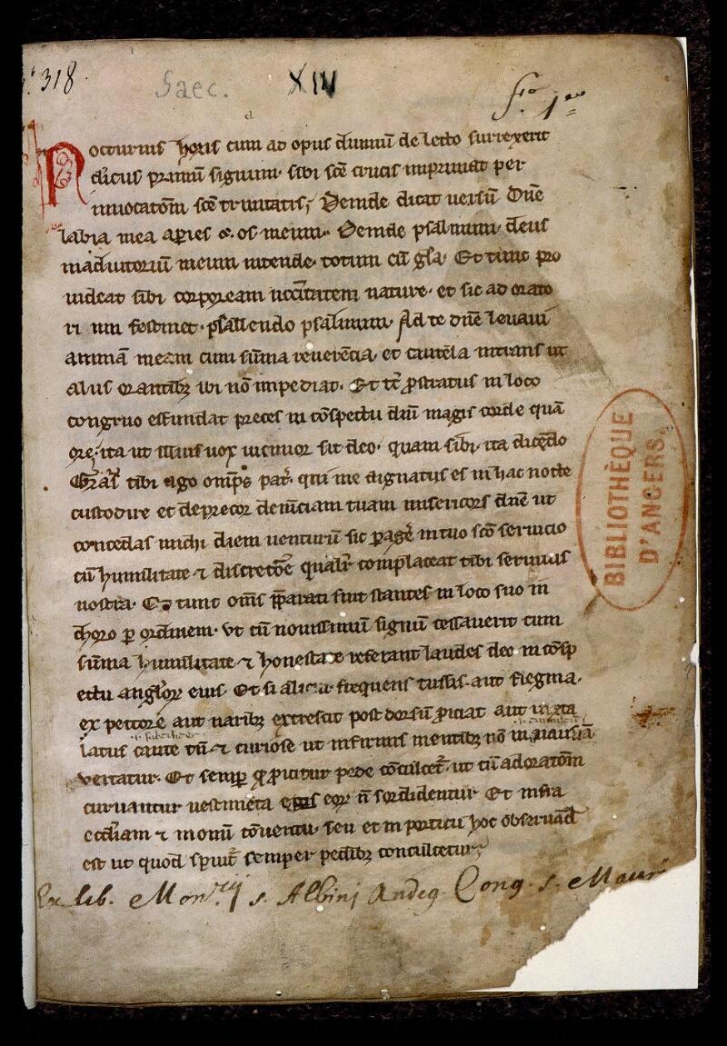 Angers, Bibl. mun., ms. 0401, f. 001 - vue 2