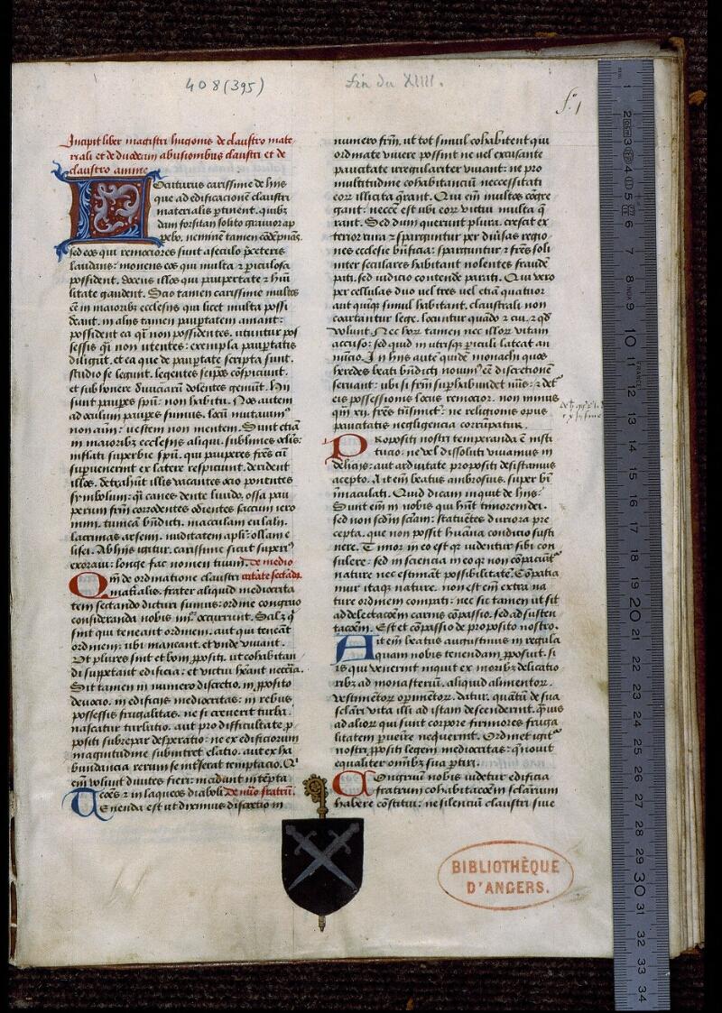 Angers, Bibl. mun., ms. 0408, f. 001 - vue 1