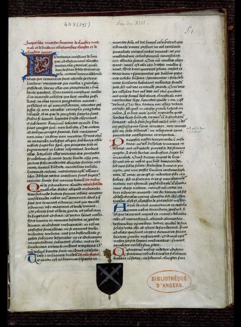 Angers, Bibl. mun., ms. 0408, f. 001 - vue 2