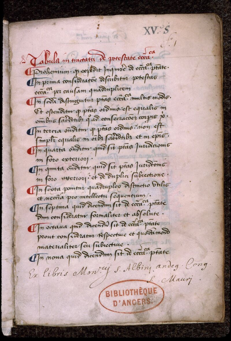 Angers, Bibl. mun., ms. 0414, f. 001 - vue 2