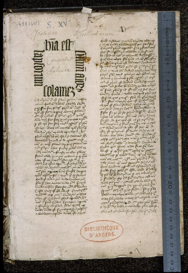 Angers, Bibl. mun., ms. 0418, f. 001 - vue 1