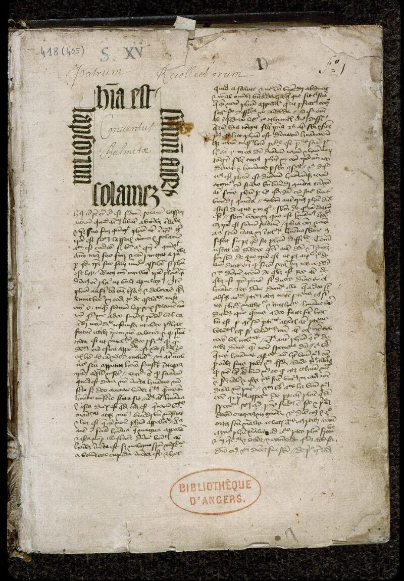 Angers, Bibl. mun., ms. 0418, f. 001 - vue 2