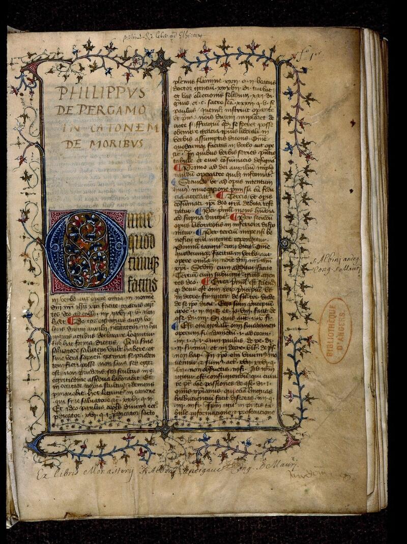 Angers, Bibl. mun., ms. 0420, f. 001 - vue 2