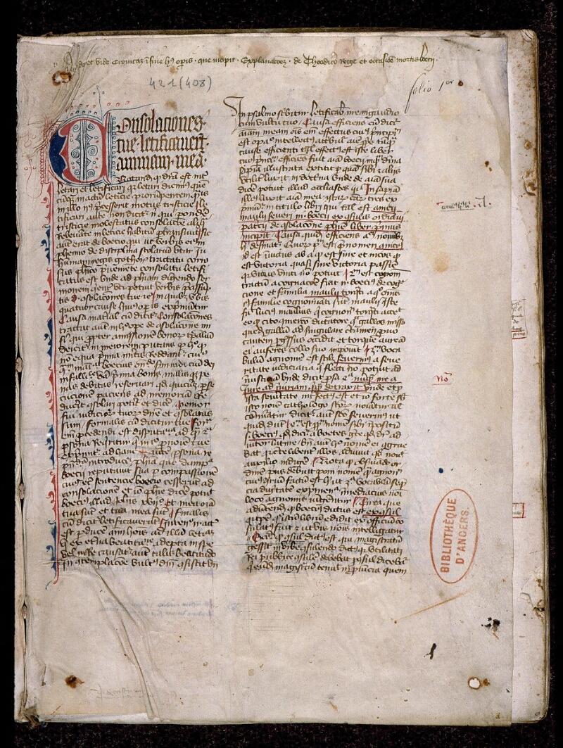 Angers, Bibl. mun., ms. 0421, f. 001 - vue 2