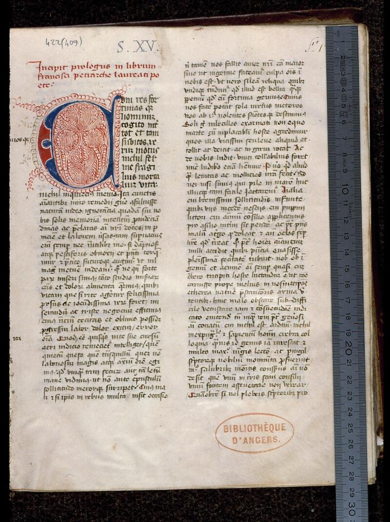 Angers, Bibl. mun., ms. 0422, f. 001 - vue 1