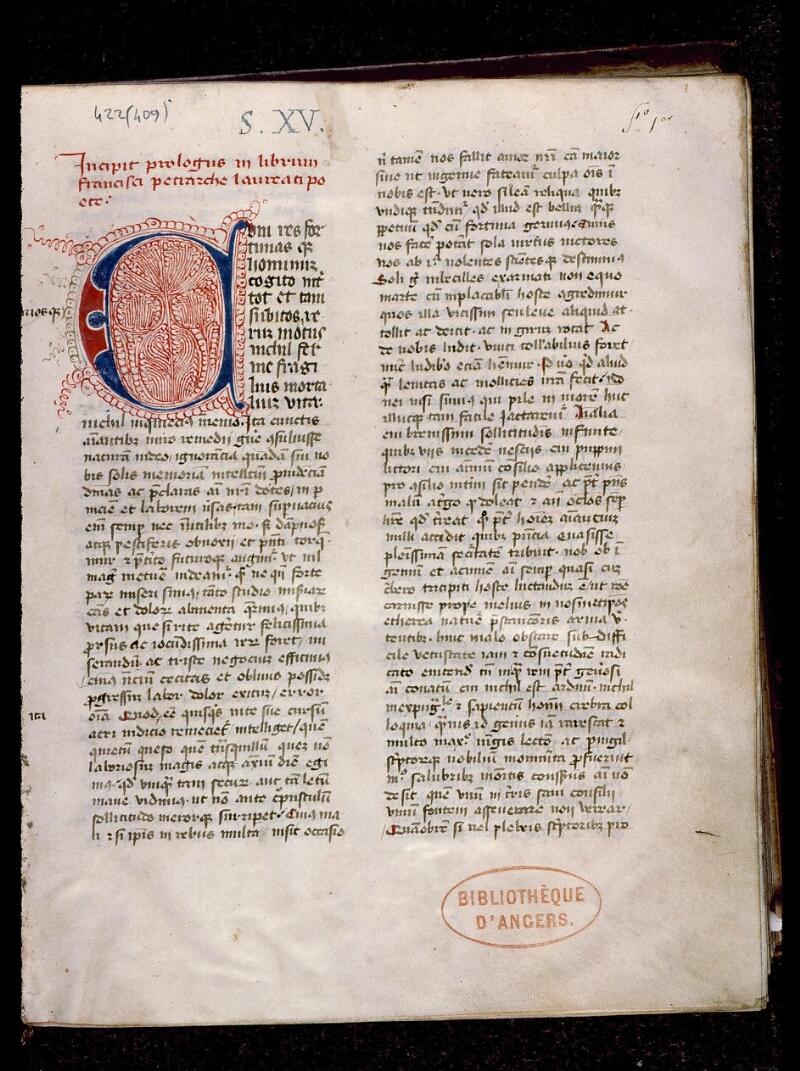 Angers, Bibl. mun., ms. 0422, f. 001 - vue 2