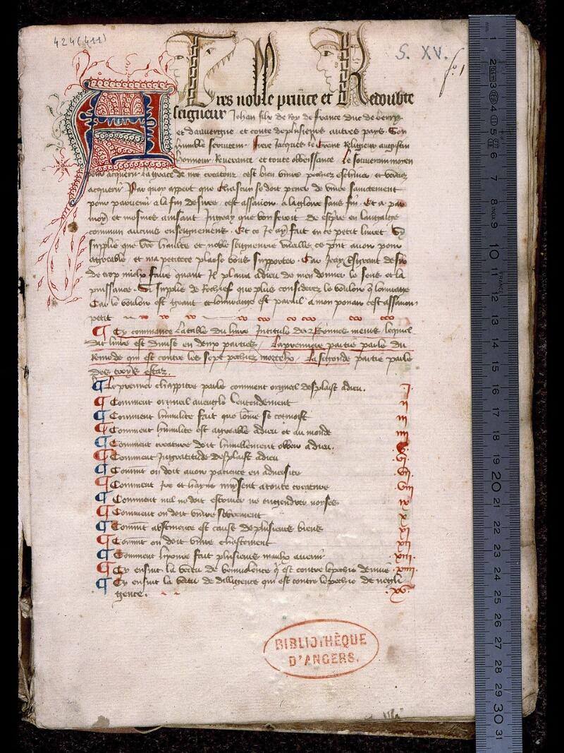 Angers, Bibl. mun., ms. 0424, f. 001 - vue 1
