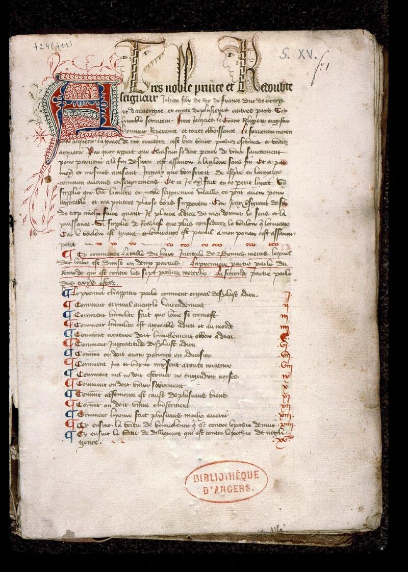 Angers, Bibl. mun., ms. 0424, f. 001 - vue 2