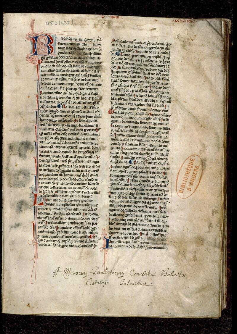 Angers, Bibl. mun., ms. 0450, f. 002 - vue 2