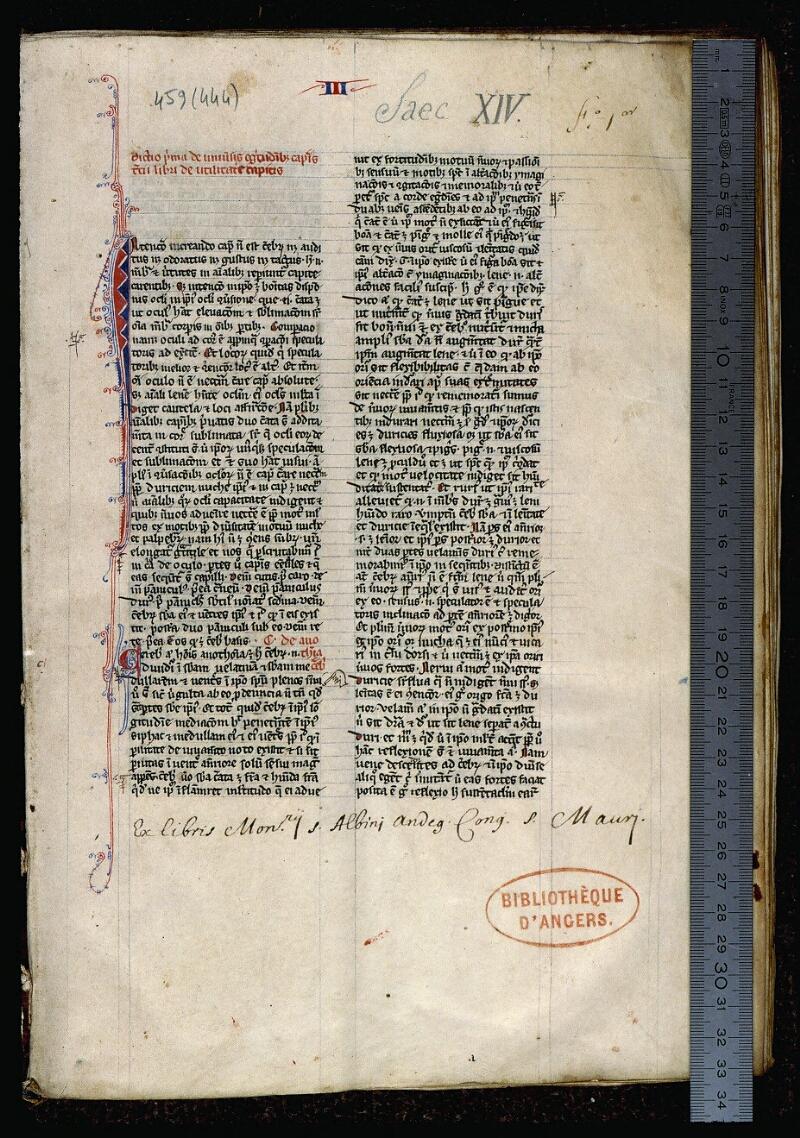 Angers, Bibl. mun., ms. 0459, f. 001 - vue 1