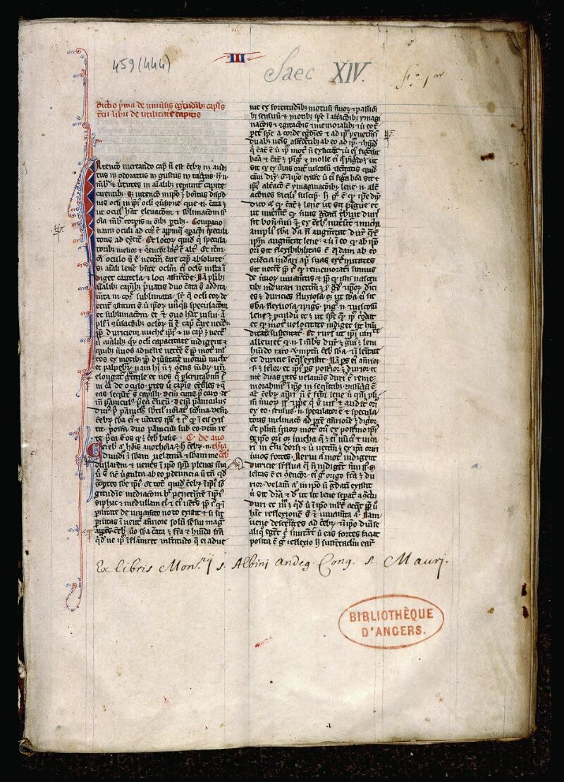 Angers, Bibl. mun., ms. 0459, f. 001 - vue 2