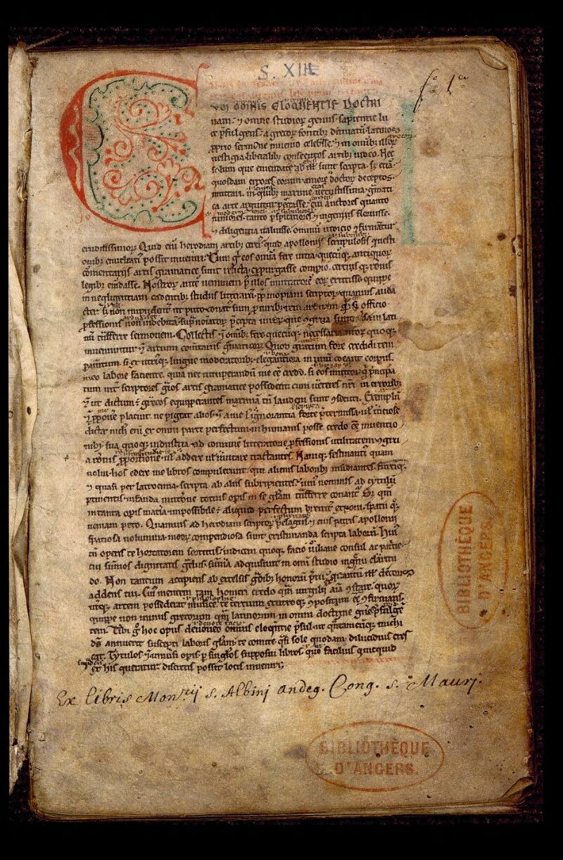 Angers, Bibl. mun., ms. 0495, f. 001 - vue 2