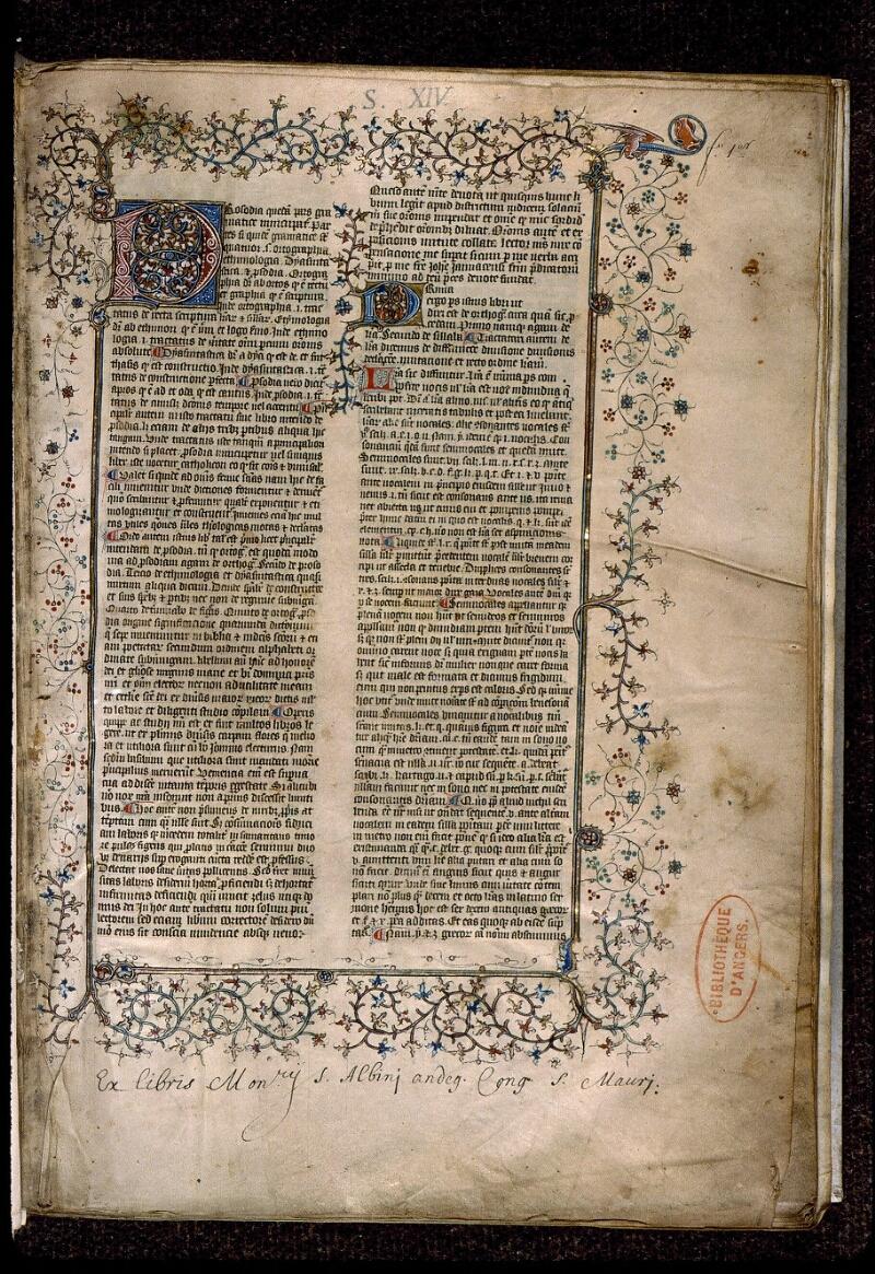 Angers, Bibl. mun., ms. 0496, f. 001 - vue 2