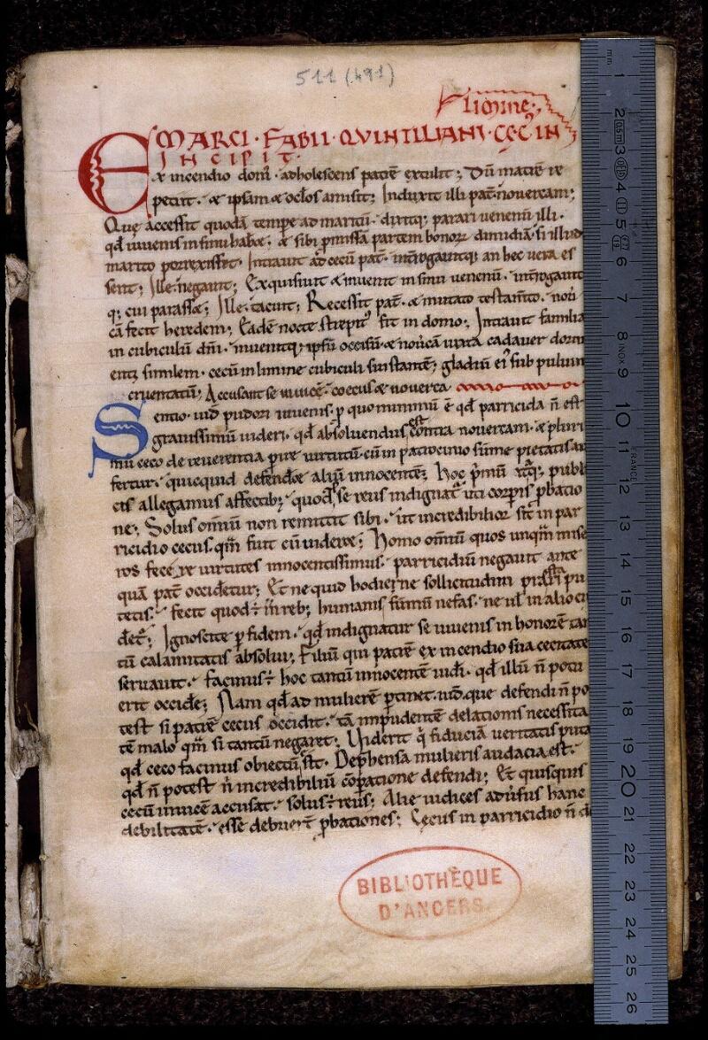 Angers, Bibl. mun., ms. 0511, f. 001 - vue 1
