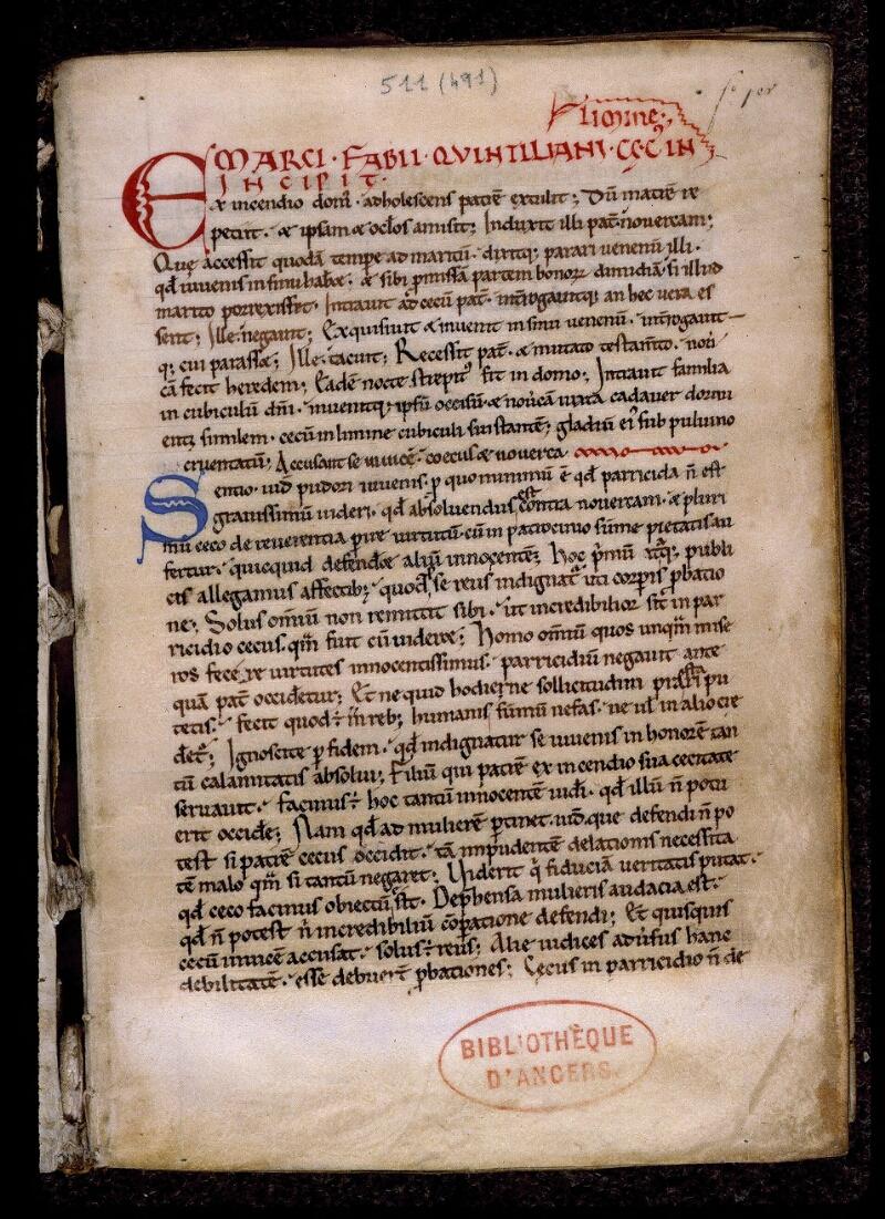 Angers, Bibl. mun., ms. 0511, f. 001 - vue 2