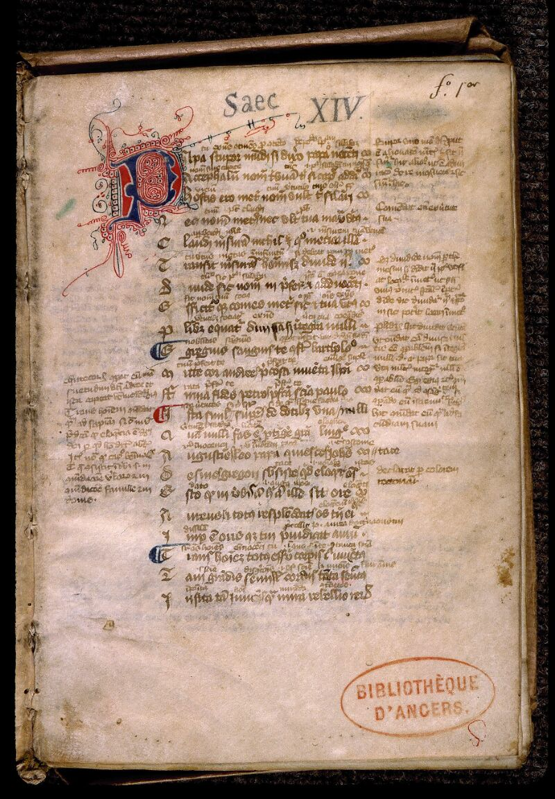 Angers, Bibl. mun., ms. 0523, f. 001 - vue 2
