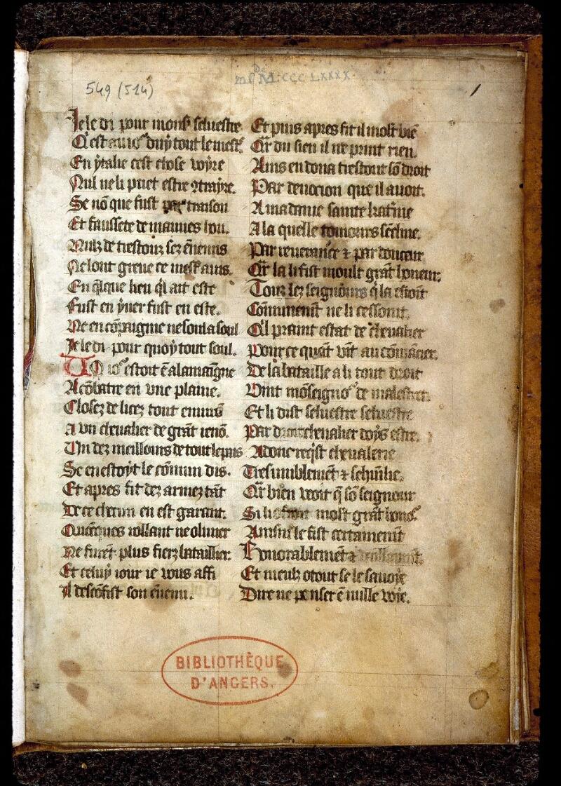 Angers, Bibl. mun., ms. 0549, f. 001 - vue 2